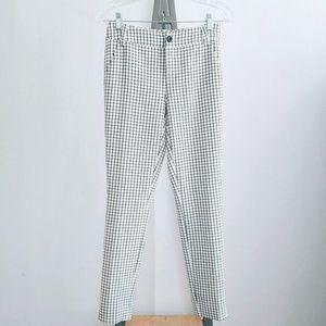 Cabi Black White Windowpane Check Trouser Pants 0
